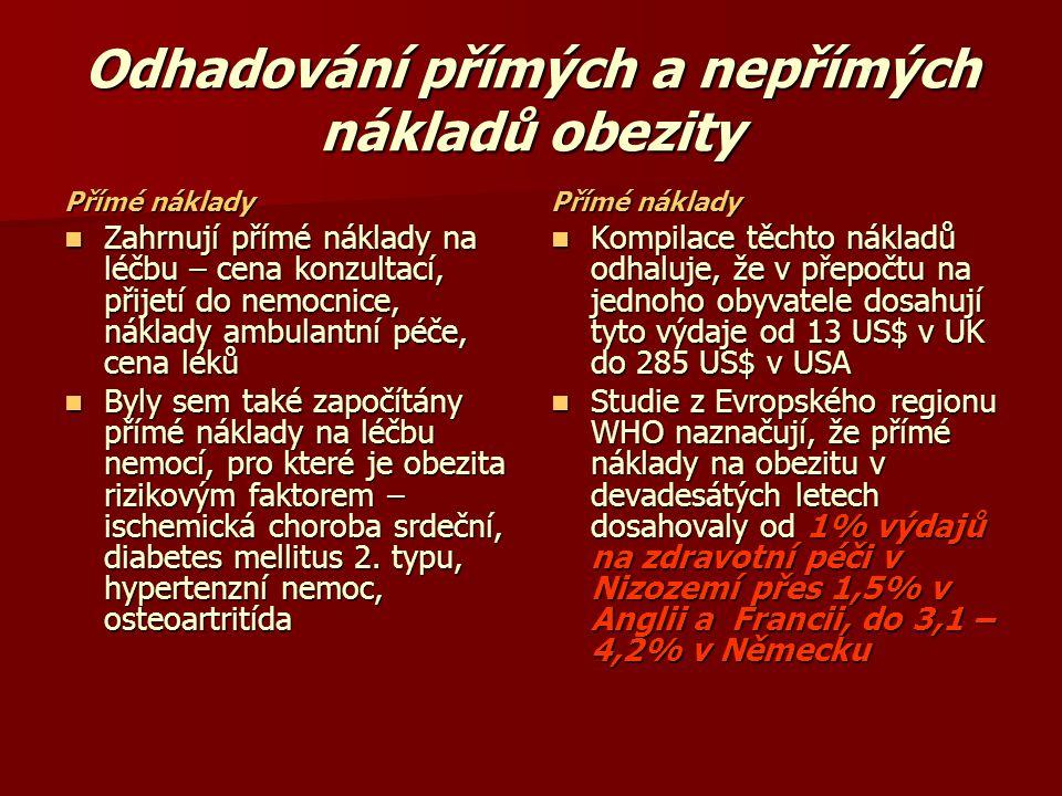 Odhadování přímých a nepřímých nákladů obezity