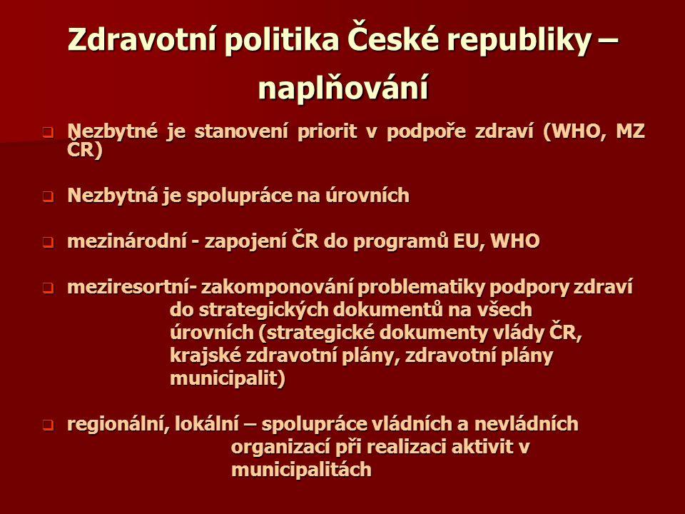 Zdravotní politika České republiky – naplňování