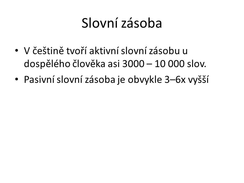Slovní zásoba V češtině tvoří aktivní slovní zásobu u dospělého člověka asi 3000 – 10 000 slov.