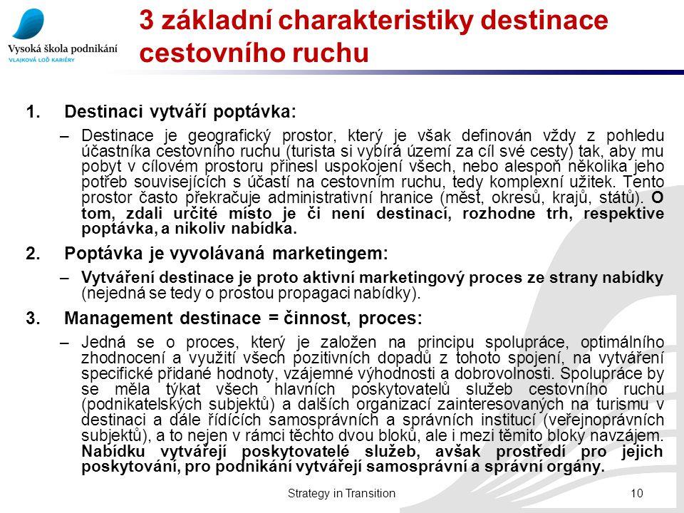 3 základní charakteristiky destinace cestovního ruchu