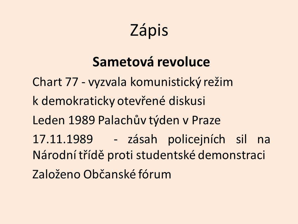 Zápis Sametová revoluce Chart 77 - vyzvala komunistický režim