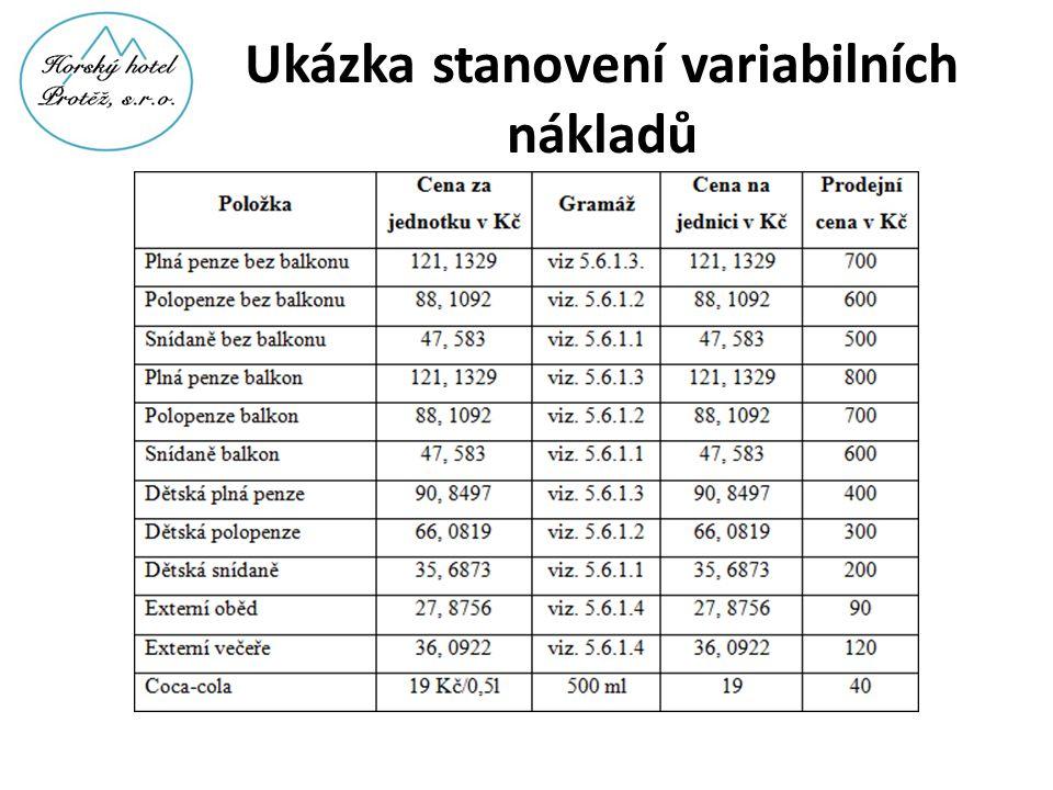 Ukázka stanovení variabilních nákladů