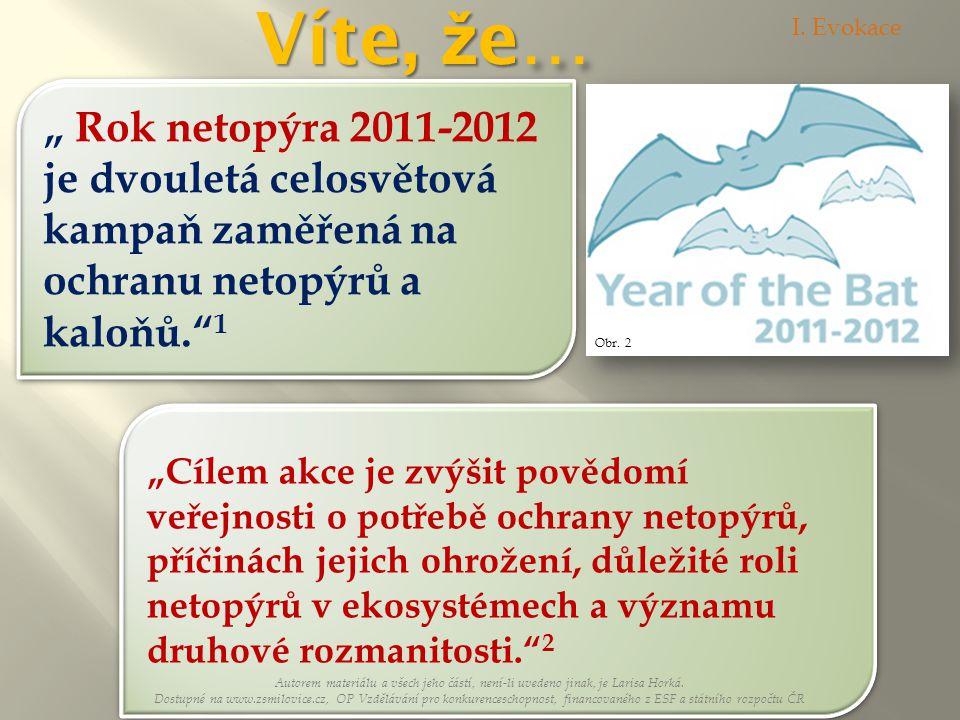 """Víte, že… I. Evokace. """" Rok netopýra 2011-2012 je dvouletá celosvětová kampaň zaměřená na ochranu netopýrů a kaloňů. 1."""