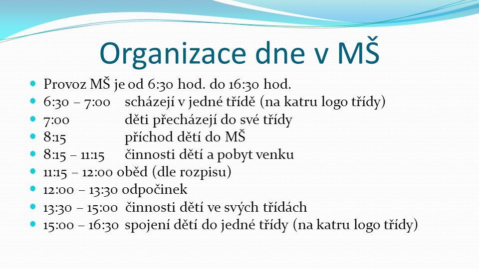 Organizace dne v MŠ Provoz MŠ je od 6:30 hod. do 16:30 hod.