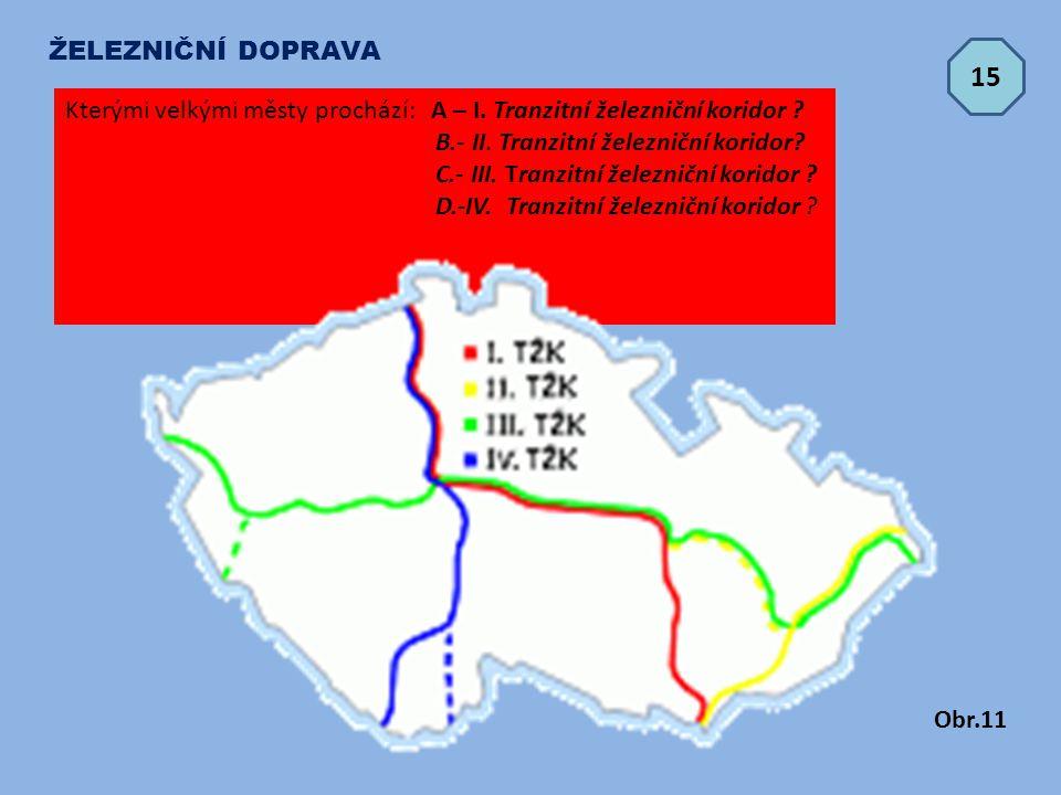 ŽELEZNIČNÍ DOPRAVA 15. Kterými velkými městy prochází: A – I. Tranzitní železniční koridor B.- II. Tranzitní železniční koridor