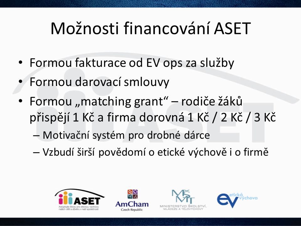 Možnosti financování ASET