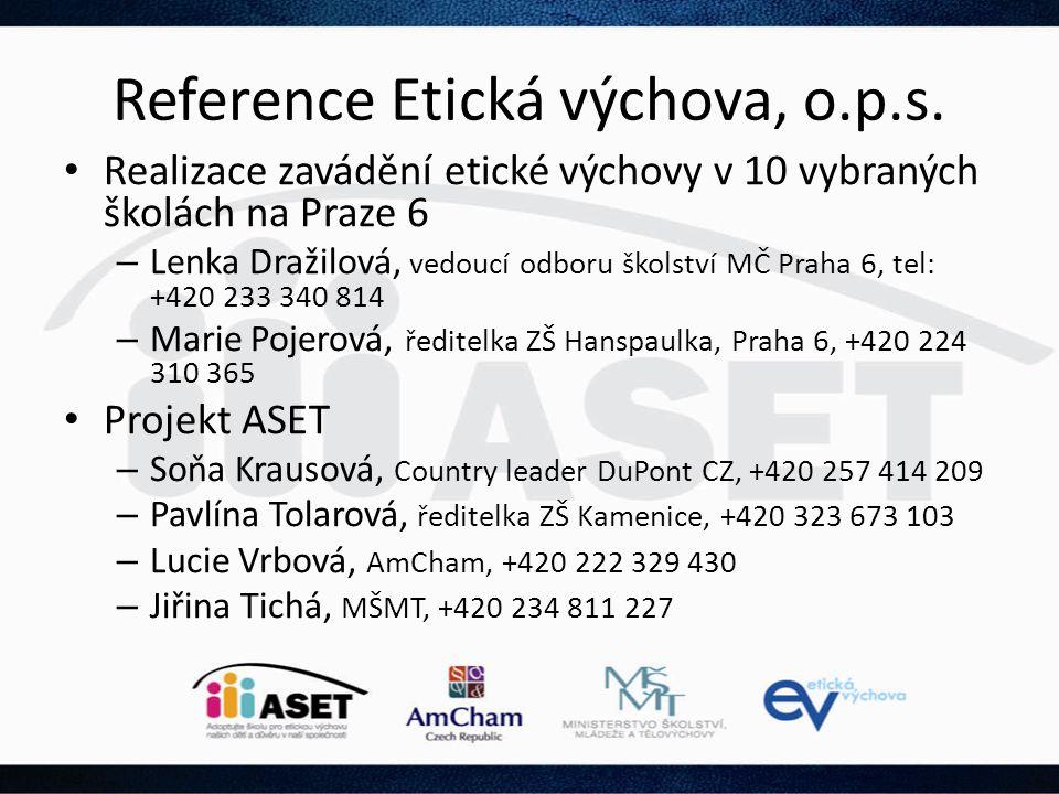 Reference Etická výchova, o.p.s.