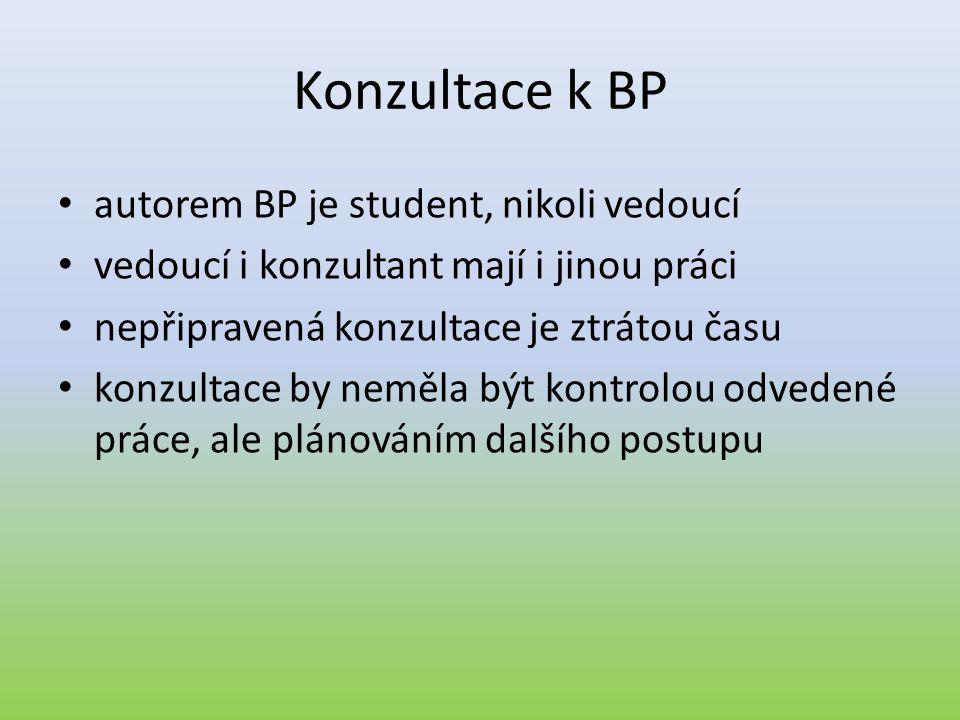 Konzultace k BP autorem BP je student, nikoli vedoucí
