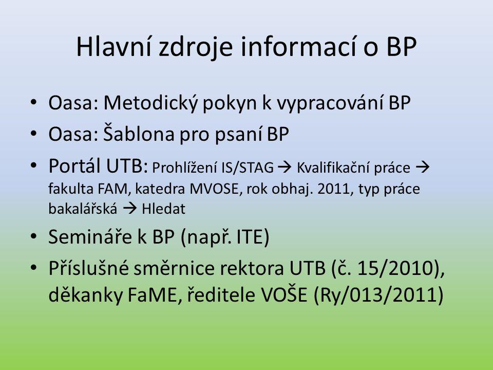 Hlavní zdroje informací o BP