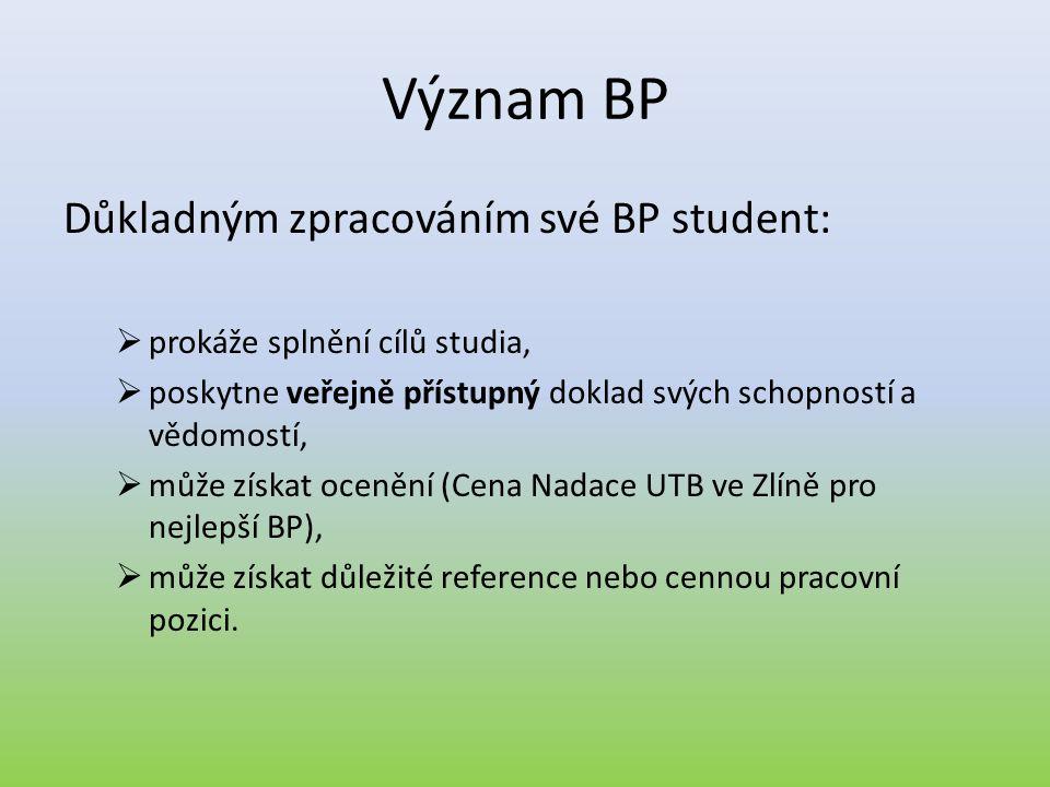 Význam BP Důkladným zpracováním své BP student: