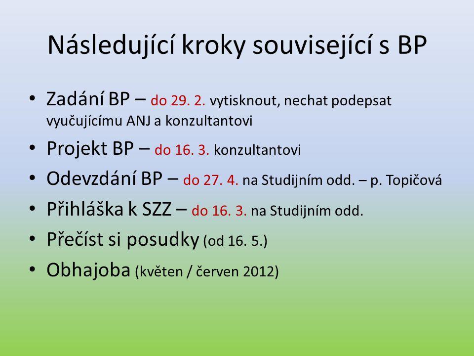 Následující kroky související s BP
