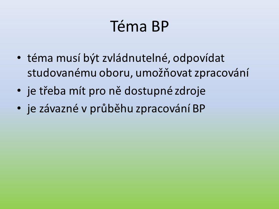 Téma BP téma musí být zvládnutelné, odpovídat studovanému oboru, umožňovat zpracování. je třeba mít pro ně dostupné zdroje.