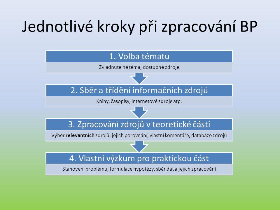 Jednotlivé kroky při zpracování BP