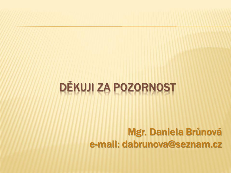 Děkuji za pozornost Mgr. Daniela Brůnová e-mail: dabrunova@seznam.cz