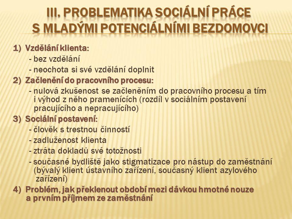 III. Problematika sociální práce s mladými potenciálními bezdomovci