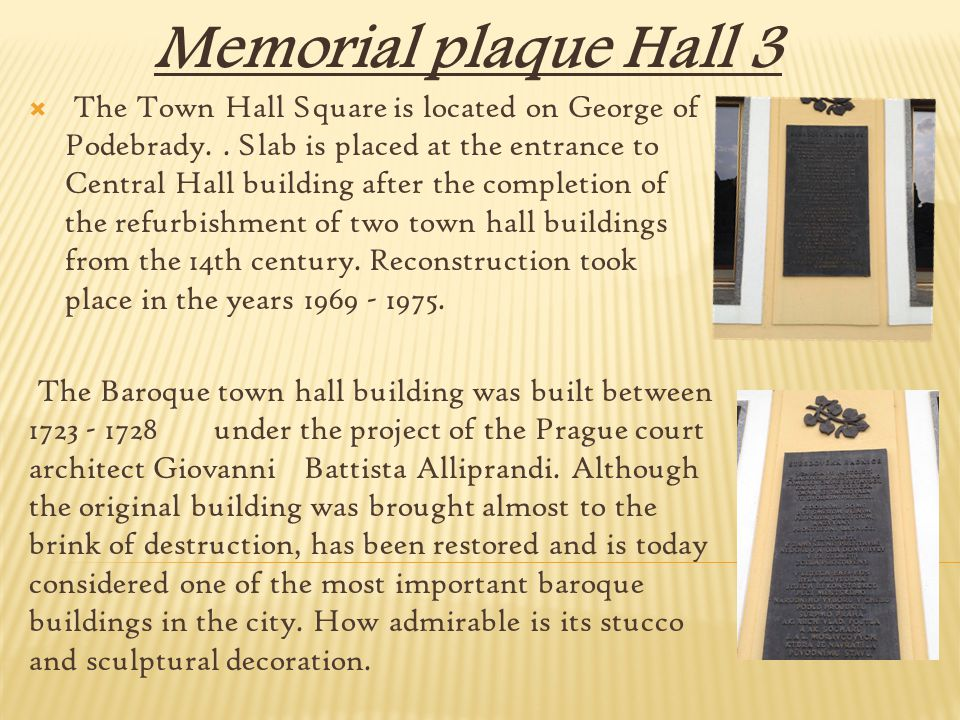 Memorial plaque Hall 3