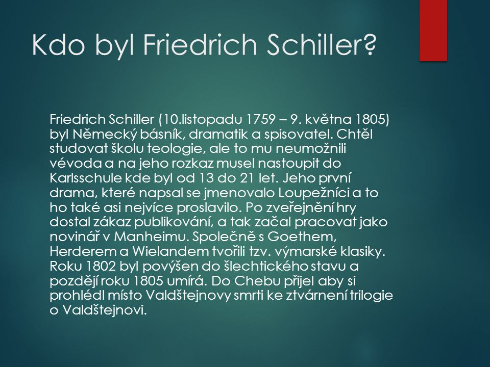 Kdo byl Friedrich Schiller