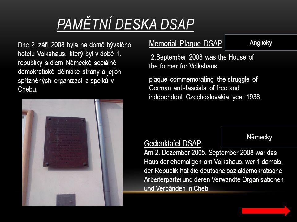 Pamětní deska DSAP Memorial Plaque DSAP Gedenktafel DSAP Anglicky