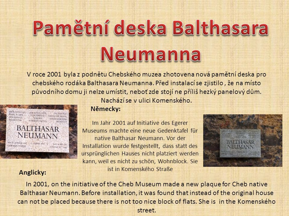 Pamětní deska Balthasara Neumanna