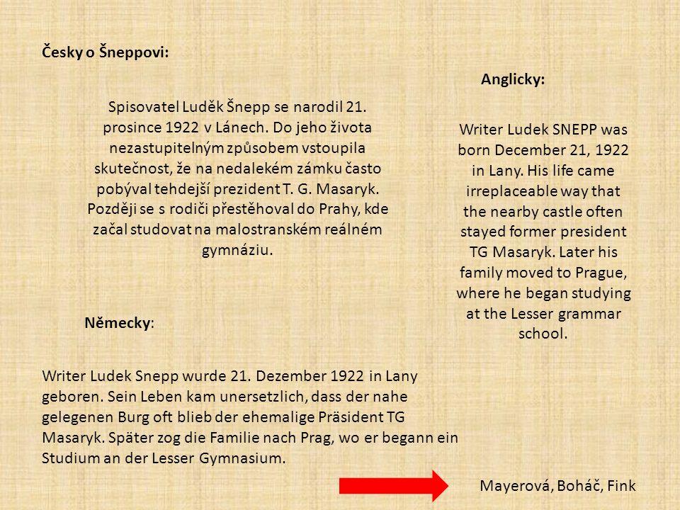 Česky o Šneppovi: Anglicky: