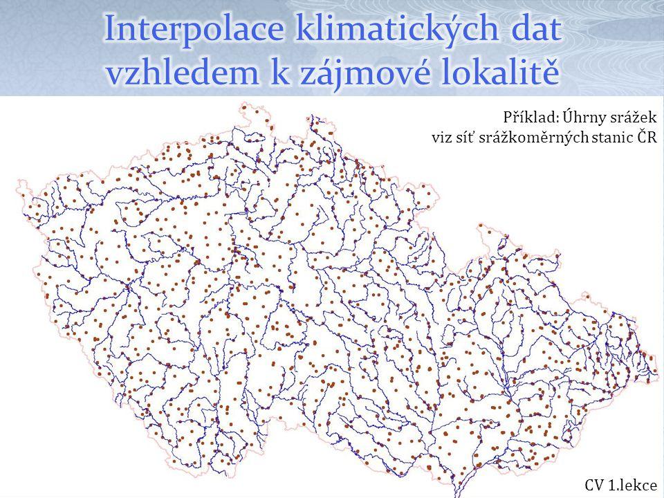 Interpolace klimatických dat vzhledem k zájmové lokalitě