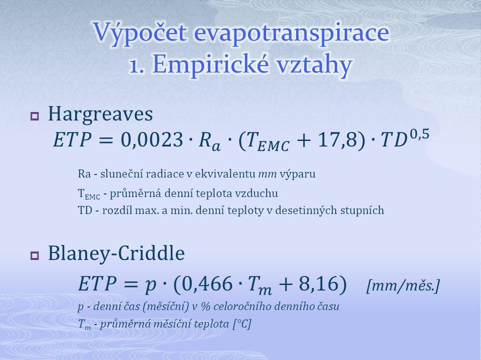 Výpočet evapotranspirace 1. Empirické vztahy