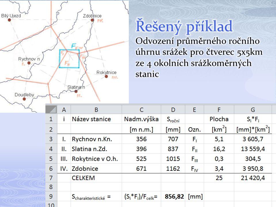 Řešený příklad Odvození průměrného ročního úhrnu srážek pro čtverec 5x5km ze 4 okolních srážkoměrných stanic