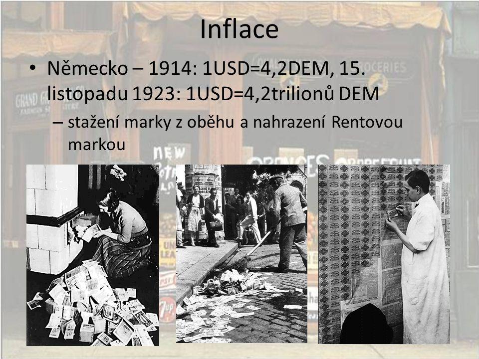 Inflace Německo – 1914: 1USD=4,2DEM, 15. listopadu 1923: 1USD=4,2trilionů DEM.