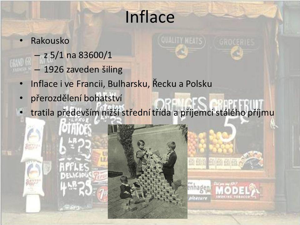 Inflace Rakousko z 5/1 na 83600/1 1926 zaveden šiling