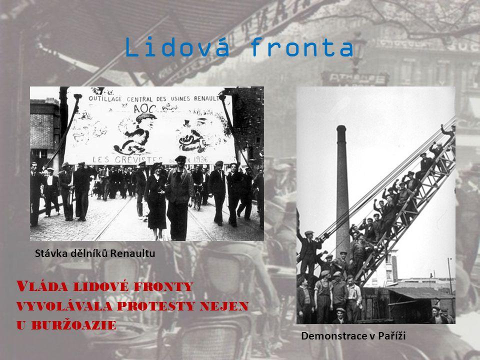 Lidová fronta Stávka dělníků Renaultu. Vláda lidové fronty vyvolávala protesty nejen u buržoazie.