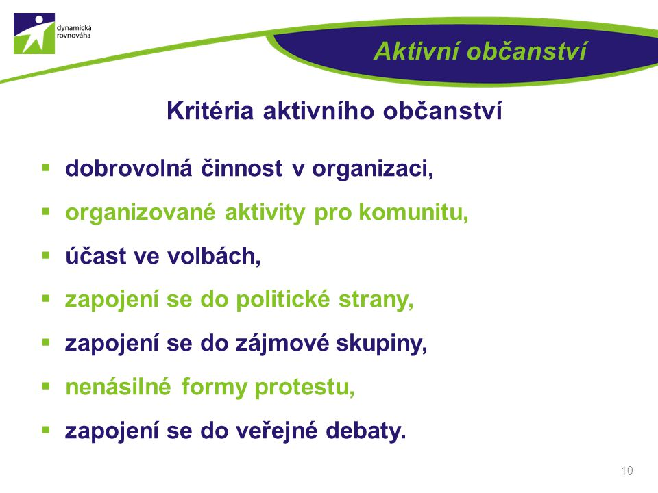 Kritéria aktivního občanství