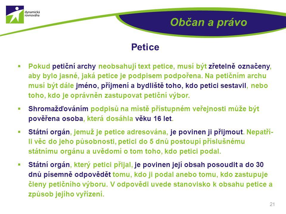 Občan a právo Petice.