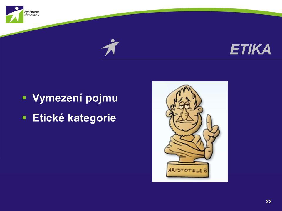 etika Vymezení pojmu Etické kategorie
