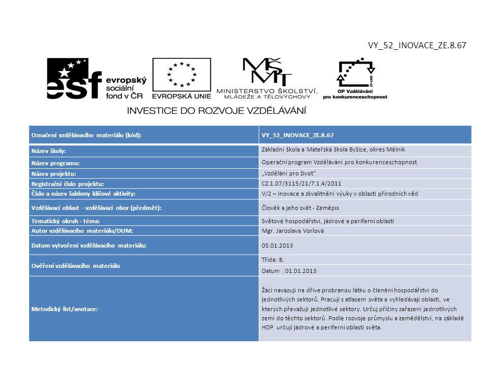 VY_52_INOVACE_ZE.8.67 Označení vzdělávacího materiálu (kód):