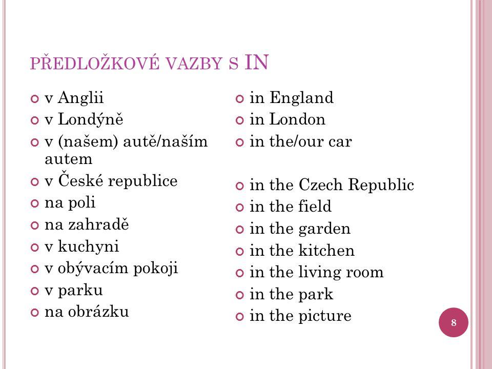 předložkové vazby s IN v Anglii v Londýně v (našem) autě/naším autem