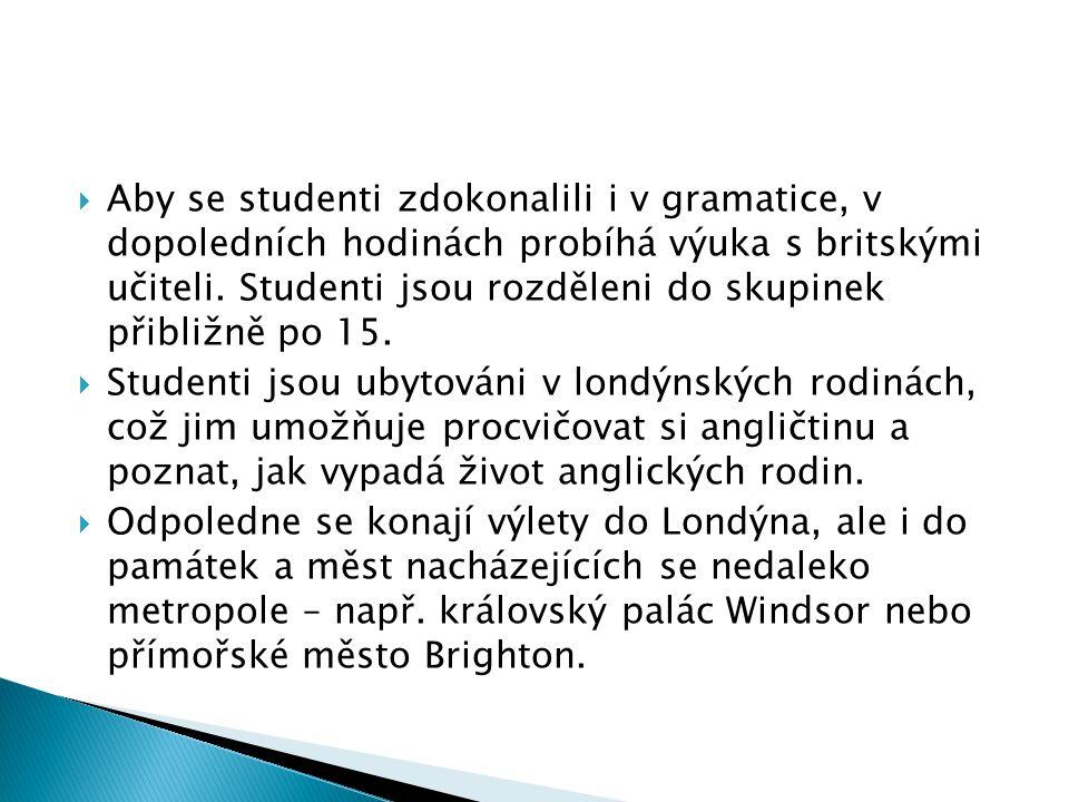 Aby se studenti zdokonalili i v gramatice, v dopoledních hodinách probíhá výuka s britskými učiteli. Studenti jsou rozděleni do skupinek přibližně po 15.