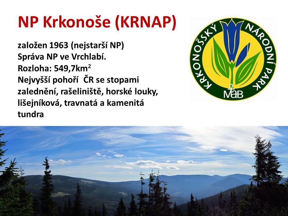 NP Krkonoše (KRNAP) založen 1963 (nejstarší NP) Správa NP ve Vrchlabí.