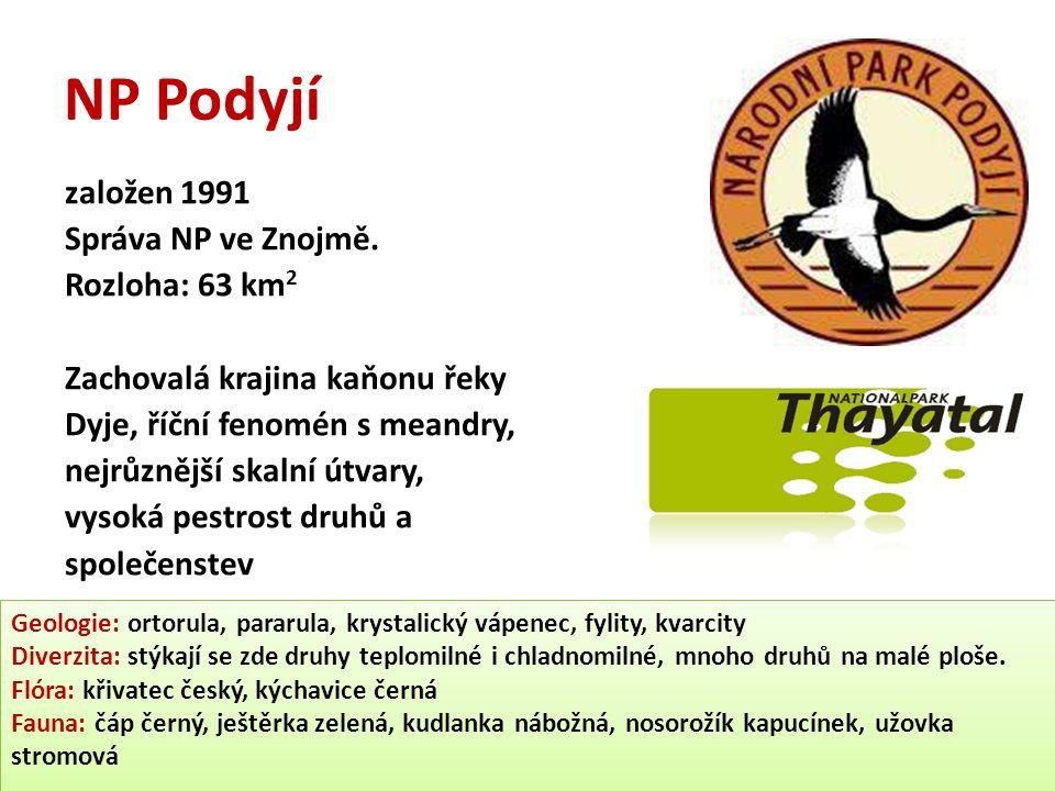 NP Podyjí založen 1991 Správa NP ve Znojmě. Rozloha: 63 km2