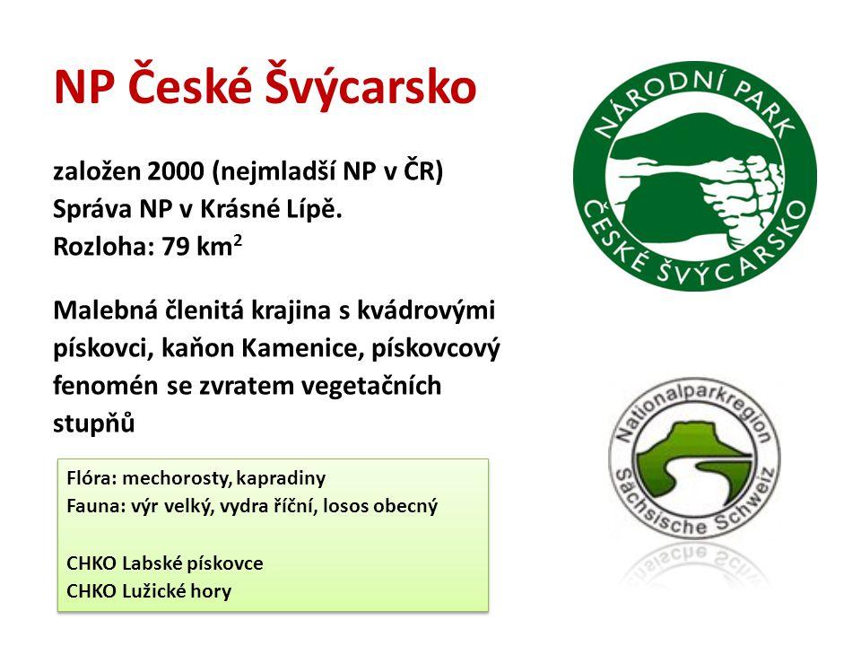 NP České Švýcarsko založen 2000 (nejmladší NP v ČR)