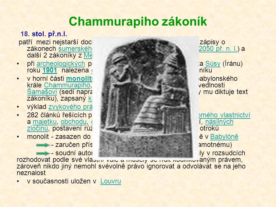 Chammurapiho zákoník 18. stol. př.n.l.
