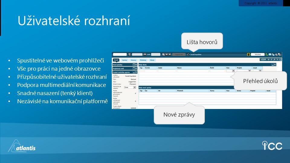 Uživatelské rozhraní Lišta hovorů Spustitelné ve webovém prohlížeči