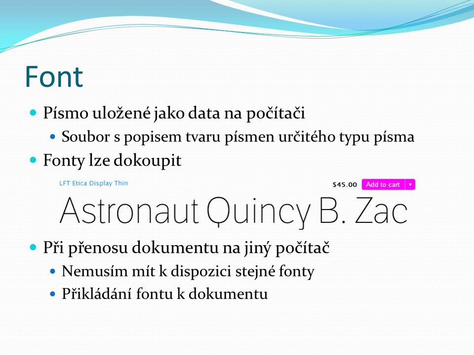 Font Písmo uložené jako data na počítači Fonty lze dokoupit