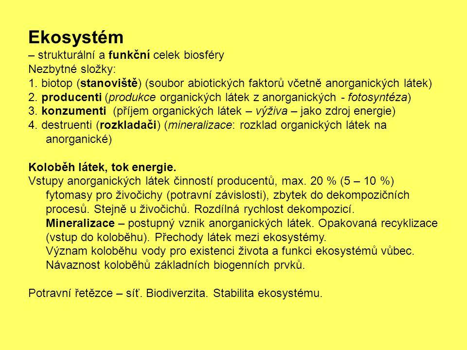 Ekosystém – strukturální a funkční celek biosféry Nezbytné složky: