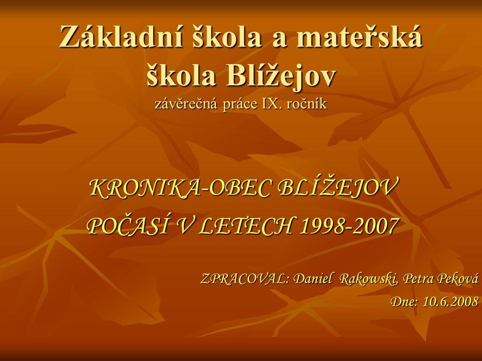 Základní škola a mateřská škola Blížejov závěrečná práce IX. ročník