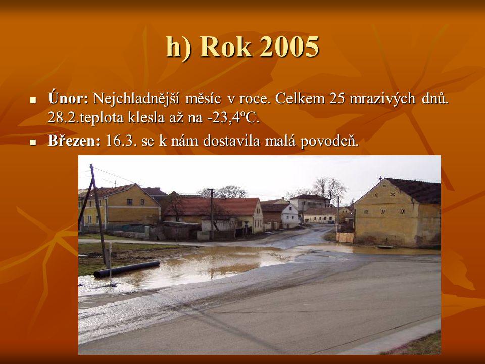 h) Rok 2005 Únor: Nejchladnější měsíc v roce. Celkem 25 mrazivých dnů. 28.2.teplota klesla až na -23,4ºC.