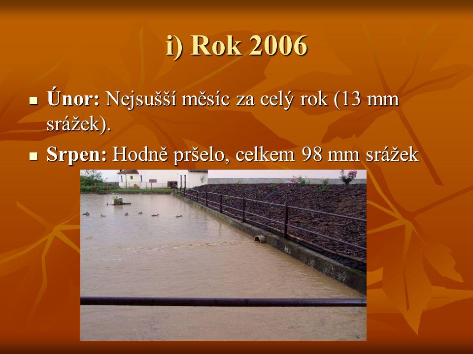 i) Rok 2006 Únor: Nejsušší měsíc za celý rok (13 mm srážek).