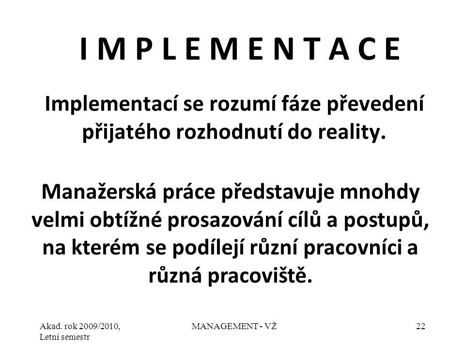 Implementací se rozumí fáze převedení přijatého rozhodnutí do reality.
