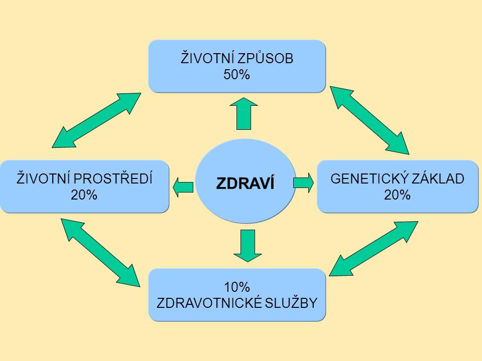 ZDRAVÍ ŽIVOTNÍ ZPŮSOB 50% ŽIVOTNÍ PROSTŘEDÍ 20% GENETICKÝ ZÁKLAD 20%