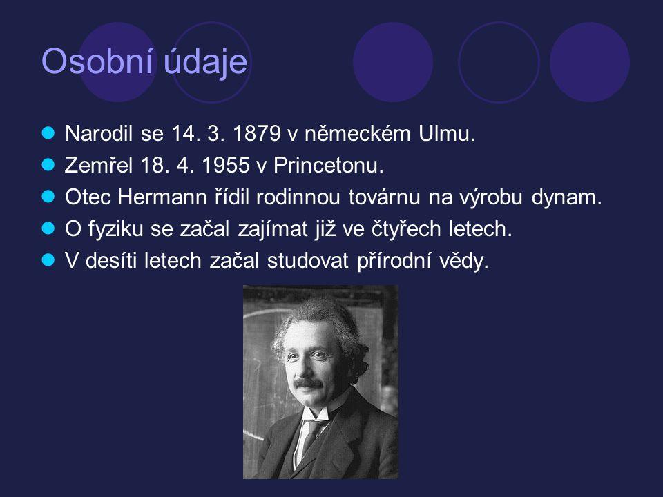 Osobní údaje Narodil se 14. 3. 1879 v německém Ulmu.
