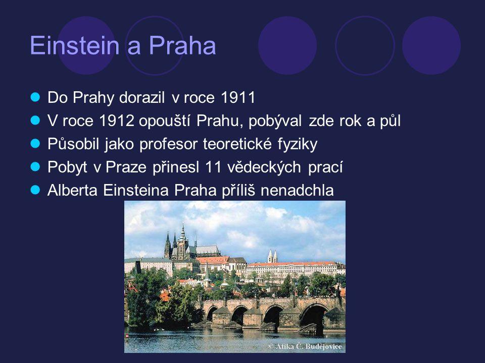 Einstein a Praha Do Prahy dorazil v roce 1911